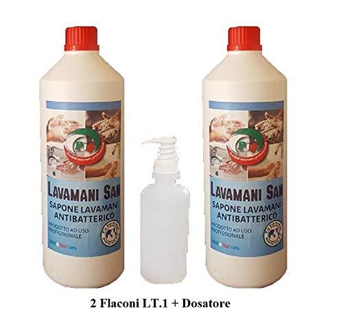 Pip Lavamani San, Sapone Liquido Cremoso Antibatterico a PH Fisiologico (ESENTE DA CLORO E ALCOOL) N. 2 Flaconi LT.1 + Disp.
