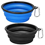 Kytely Extra Large Collapsible Dog Bowls 2 Pack , 34oz Foldable Dog Travel Bowl, Portable Dog Water Food Bowl with Carabiner, Pet Feeding Cup Dish for Traveling, Walking, Parking