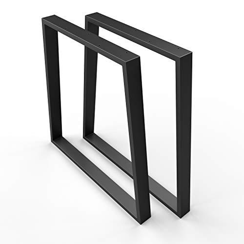 SOSSAI Stahl Trapez Tischgestell   TKG6   Farbe: SCHWARZ   Tischkufen/Tischbeine 2er Set inkl. Filzgleiter   2 Stück   Breite 70 cm (50 Trapez) x Höhe 70 cm   Profil 20x60mm