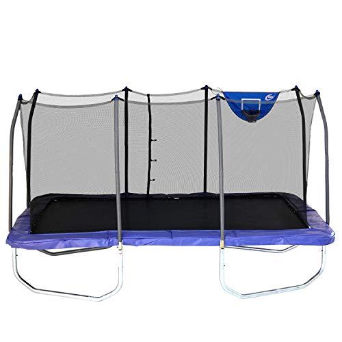 Skywalker Trampolines 15-Foot Rectangle Trampoline with Enclosure Net & Basketball Hoop - Blue