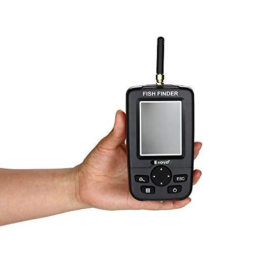 Fish Finder, cercatore di pesca con ecoscandaglio remoto wireless, sensore ecoscandaglio wireless portatile 125KHz per pesca all'aperto con schermo per lago, fiume, mare e altri ambienti di pesca
