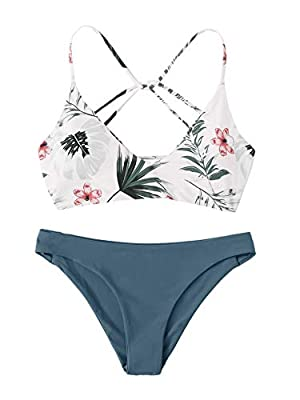 Features: Spaghetti strap, wireless, crisscross bikini top, floral print bikini, low rise bottom, two piece swimsuits Soft with good elasticity, comfy to wear Occasion: Beachwear, swimming pool, hot spring, photographs and other water activities. Pac...