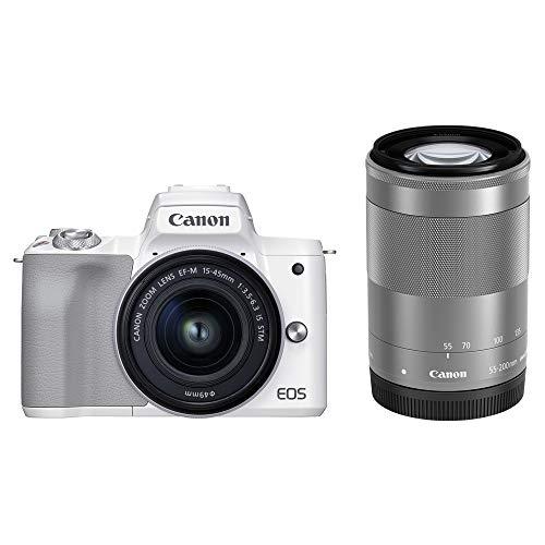 Canon ミラーレス一眼カメラ EOS Kiss M2 ダブルズームキット ホワイト KISSM2WH-WZK-A
