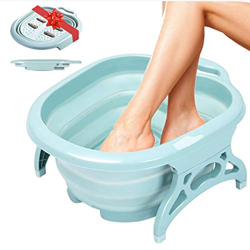 Foot Spa Collapsible Foot Bath - Large Foot Soak Tub for Soaking with Foot Massage rollers as Pedicure Kit | Great for Callus Remover & Foot Care. Tea Tree Oil, Epsom Salt Bath. Plastic Wash Basin