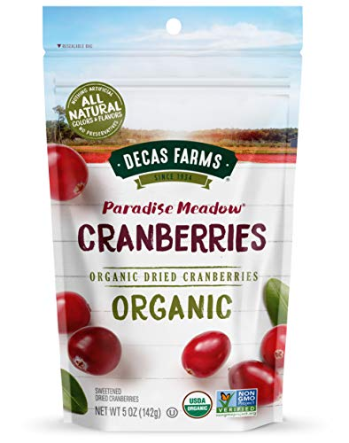 Decas Farms Organic Premium Dried Cranberries, 5-Ounce