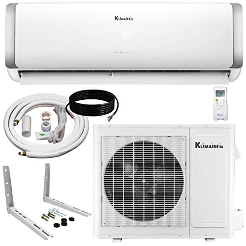 Klimaire 12,000 BTU 22.5 SEER HYPERHEAT Ductless Mini-Split Inverter Air Conditioner Heat Pump with Maxwell15 Ft Installation Kit and Wall Mounting Bracket (230 Volt)
