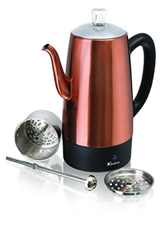 Euro Cuisine PER08 Electric Percolator 8 Cup Stainless Steel Coffee Pot Maker (8 Cup)