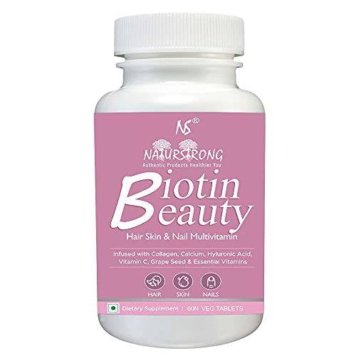 Naturstrong Biotin Beauty Multivitamin 100% RDA High Potency Biotin for Strong Nails Hair Growth Glowing Skin Beard Growth Supplement with Essentials 24 Vitamins for Men & Women- 60 Vegetarian Tablets