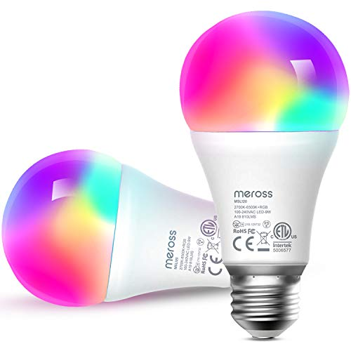 Meross WiFi スマートLED電球 E26 800lm 60W相当 電球色・昼白色対応 調光調色 RGB 1600万色 ハブ・ブリッ...