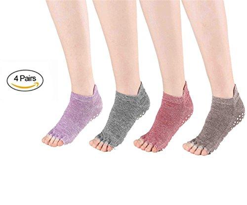 SANIQUE 4 Paia Donna Non Slip Piede Yoga Calzini - Misura per Il Formato Scarpe EU 35-40 (Stile 2)