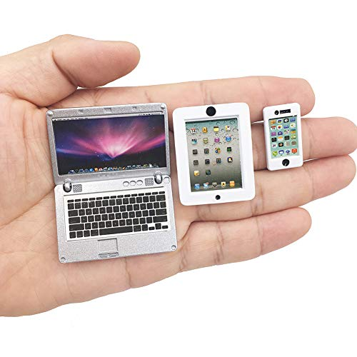HH-Eason 3 Pack Dollhouse Mini Laptop Tablet and Smart Phone Scene Computer Simulation Accessories...