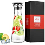 Glastal 1L Glaskaraffe Glaskrug aus Borosilikatglas Wasserkrug mit Edelstahl Deckel Karaffe Glaskanne 11.2 * 31.5cm