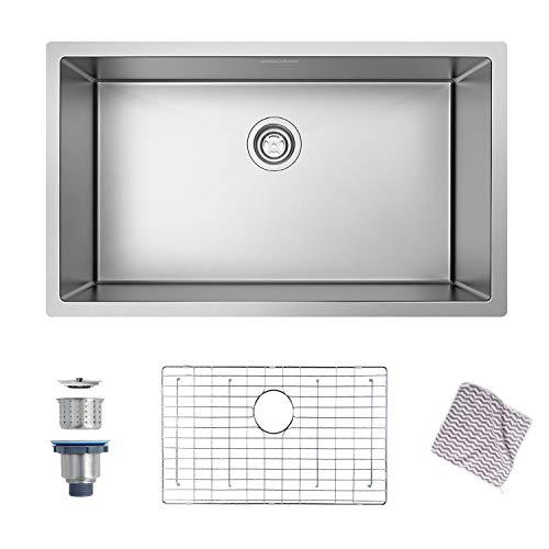 MENSARJOR 30'' x 18'' Single Bowl Kitchen Sink 16 Gauge Undermount Stainless Steel Kitchen Sink, Bar or Prep...
