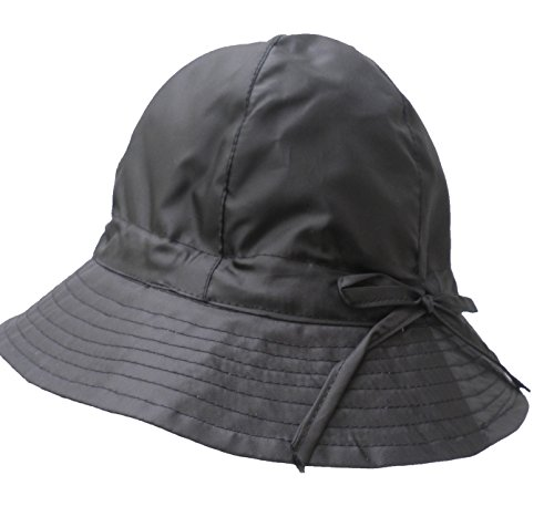 Damen Hut Regenhut Wetterhut Damenmützen Regenhüte Kofferhut (57, Schwarz)