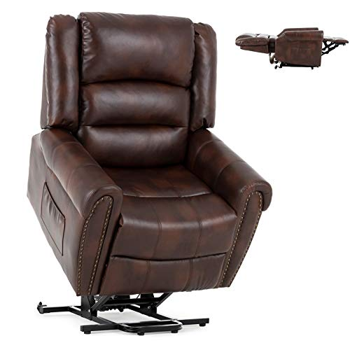 Mecor Power Lift Chair Dual Motor PU Leather Lift Recliner for Elderly Lay Flat Sleeper Recliner with Massage/Heat/Vibration/Remote Control/Side Pockets for Living Room