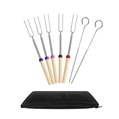 Ecloud Shop Marshmallow Tostado Barbacoa Stick-Conjunto de 5 Telescópico Acero Inoxidable Skewer Tenedores para Perros Calientes-Extensible a 32 Pulgadas de Largo-2 Varillas para Asar Gratis