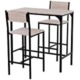 HOMCOM Industrial Counter-Height 3-Piece Table and 2 High Back Stools Set for Small Space in The Dining Room