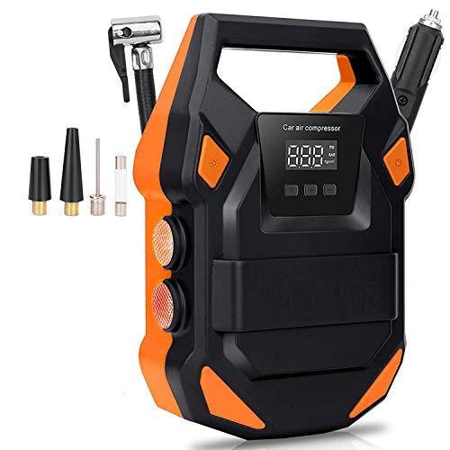 Boomersun Pompe Voiture 150PSI Compresseur d'air Portable Digital Electrique 12V Allume Cigare Gonfleur Pneus Multifonctionnel pour Velo Moto VTT auto SUV jouet gonflable
