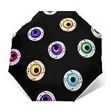 Paraguas de viaje con diseño de iconos de ojos de Halloween sin costuras, resistente al viento y sol, ligero, portátil, compacto, de viaje, plegable, para niños, mujeres y hombres