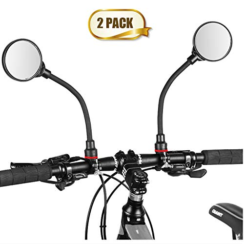Newlight66 Bike Mirror, Adjustable Handlebar Rear View Mirrors for Mountain Road Bike Bicycle Electric Motorcycle (Black-2PC)