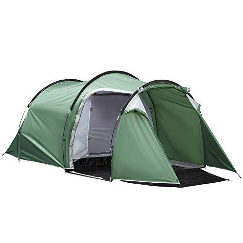 Outsunny Tente de Camping familiale 3-4 Personnes Montage Facile 3 Portes fenêtres dim. 4,26L x 2,06l x 1,54H m Fibre Verre Polyester PE Vert