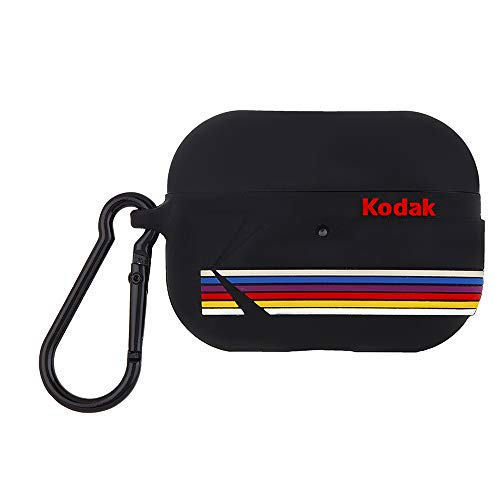 Kodak × Case-Mate コダック コラボ AirPods Pro ソフト シリコン ケース ワイヤレス充電対応・おしゃれなカラビナ マットブラック Apple AirPods Pro Case - Matte Black with Kodak Stripes w/Black Carabiner Clip