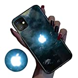 Wxyfl Glowing LED Logo Call Flash Light Up Glass Case for iPhone 11 PRO X XS MAX 6 7 8 Plus Voice Activated Case,B,iPhone 11pro