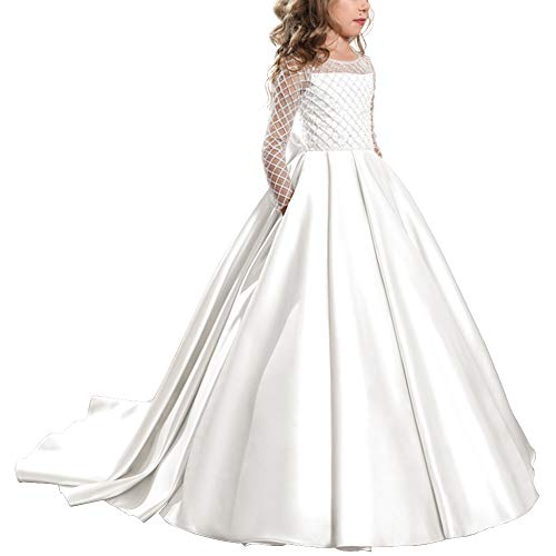 IBTOM CASTLE Flower Girls Communion Dress Satin Pageant Party Wedding Floor Length for Kids Evening Prom Party Dance Ball Gowns White 8-9 Years