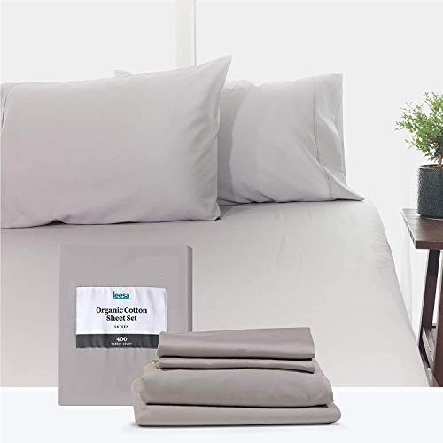 King Size Bed Sheets Set by Leesa, 100% Cotton Cooling Sateen, Includes Pillowcases and Fitted Sheets, with High Thread Count, Light Grey