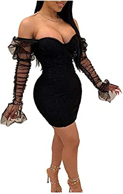 Zipper closure. Material: polyester, spandex, stretchy and give feel comfort. See through mesh patchwork, Hip skirt fitted bodycon dress Super sexy women's see through mesh dress suitable for daytime, night out, cocktail, party club, birthday, dating...