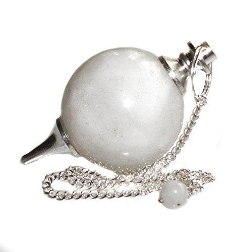Péndulo esférico para radiestesia y sanación en Cristales de Piedra Semipreciosa Genuina (Onix Blanco)