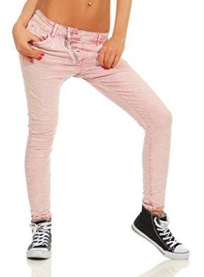Fashion4Young-11105-Damen-Jeans-Hose-Boyfriend-Baggy-Haremsjeans-Slim-fit-Rhre-Damenjeans-Pants-Altrosa-XS-34