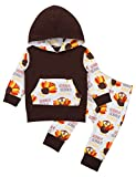 Thanksgiving Baby Outfit Thanksgiving Baby Clothes Newborn Baby boy Girl Clothes Turkey Baby Long Sleeve Turkey Hoodie Set(12-18Months) Orange