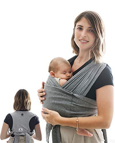 Fascia Porta Beb Elastica Per Neonati con Supporto Schiena Ergonomica TODOGI - Fascia Neonato Elastica in cotone 40 settimane con Anelli Facile da Indossare - Baby Wrap Unisex Grigio
