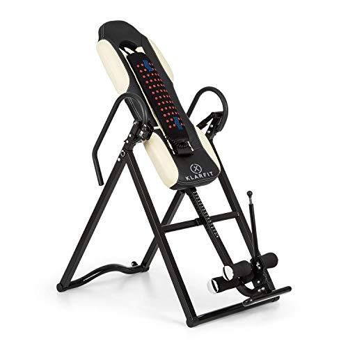 Klarfit Ease Delux - Table d'inversion, Charge Max 136kg, Fonction chauffante, Réglable avec Un Angle d'inversion de 20, 40 et 60°, pour des Tailles de 1,54-1,98m, Beige