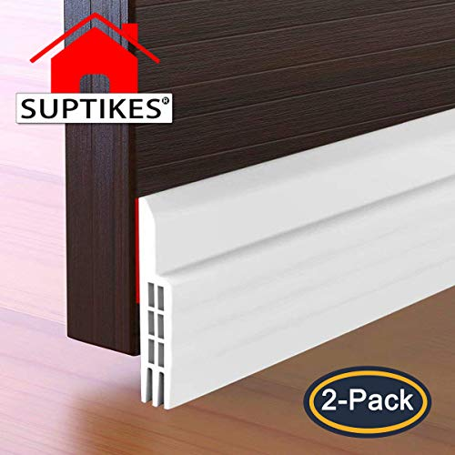 2PACK Door Draft Stopper, Strong Adhesive Door Sweep for Exterior and Interior Doors, Weather Stripping Noise Stopper, 2' W x 39' L (White)