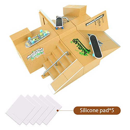 TIME4DEALS Finger Skateboard Park 8pcs Skate Park Kit Ramp Parts, Mini Fingerboard Rails Starter Kit with 3 fingerboards & 5 Silicone Mat Set