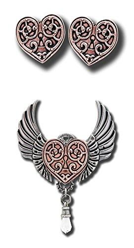 ANNE STOKES Valkyrie Heart - Steampunk Winged Lock Pendant Necklace & Earring Set - for a Warriors Heart - Engineerium (Jewellery)