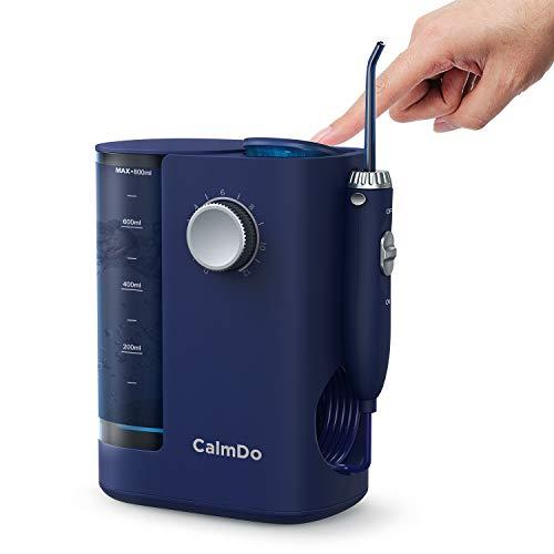 CalmDo Munddusche Elektrisch UV-Desinfektion Professionelle Zahnreinigung Water Flosser Zahnreiniger 20-130 PSI Einstellbarer Wasserdruck mit 8 Funktionsdüsen 800ml Wassertank, Weiß