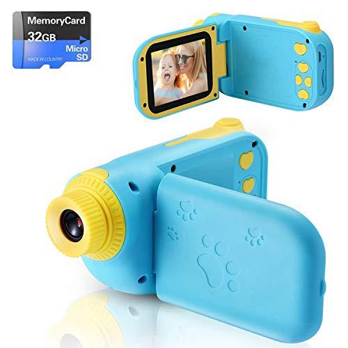 Fotocamera per Bambini Giocattolo Videocamera Digitale per Bambini Giocattolo per Bambini Schermo HD da 2.4 pollici 1080P con 32 GB TF Card Giocattoli da Regalo da 3 a 12 anni Ragazzi e Ragazze (blu)