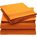 Mellanni Bed Sheet Set - Brushed Microfiber 1800 Bedding - Wrinkle, Fade, Stain Resistant - 4 Piece (King, Persimmon)