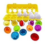 J-hong Matching Eggs Educational Color & Shape Recognition Sorter Puzzle Skills Study Toys, for Learn Color & Shape Match Egg Set, for Age 2 Years Old and 2 Years Up Kid Baby Toddler Kids. (12 Eggs)