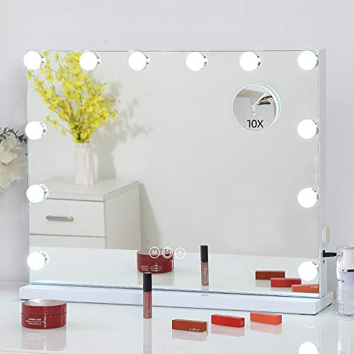 FENCHILIN Large Vanity Mirror with Lights Hollywood Lighted Makeup Mirror with 12 Dimmable LED Bulbs for Dressing Room & Bedroom Tabletop or Wall-Mounted Slim Metal Frame Design White