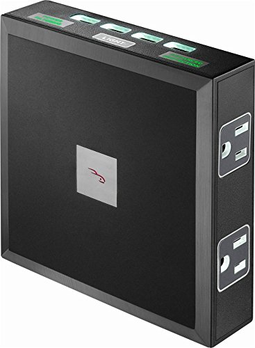 Rocketfish - 6-Outlet/4-USB Wall Tap Surge Protector - Black