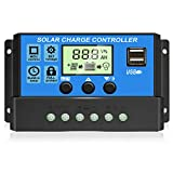 [2021 Upgraded] Solar Charge Controller, Solar Panel Battery Intelligent Regulator with Dual USB...