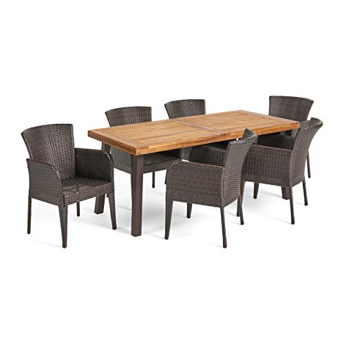 Christopher Knight Home Great Deal Furniture | Delgado 7-Piece Outdoor Dining Set | Wood Table w/Wicker Chairs | in Multibrown