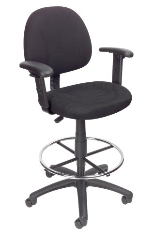 Boss Office Products Ergonomic Works Drafting Chair with Adjustable Arms in Black, 250