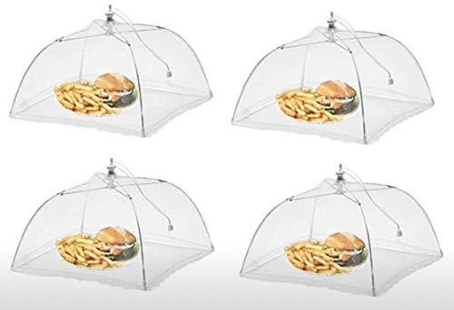 RHP Fliegenhaube XL 4er Set Abdeckhaube für Essen, Faltbare Kuchenabdeckung Fliegenschirm Lebensmittel Abdeckung, Perfekter Fliegen-Schutz für Essen, Obst, Picknick, BBQ, 29x29x30 cm, Weiß
