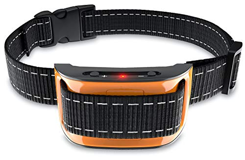 NPS No Shock Bark Collar for Small to Large Dogs - Smart Chip Adjusts to Stop Barking in 1 Minute - Highly Effective Vibration and Sound Stops Barks Fast with No Pain - Safe, Anti-Bark Device (Orange)