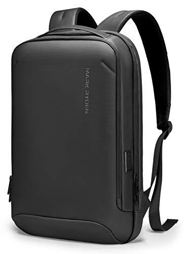 【2021NEW】MARK RYDEN ビジネスリュック PCリュック バックパック ハードシェル 防水 リュックメンズ 薄型 リュックサック YKK ファスナー USB充電ポート15.6インチPC収納 軽量デイリー 黒